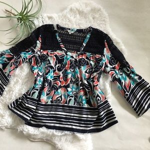 Crown & Ivy tunic lace size medium colorful